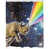 Rhino Decor, Rhino Galaxy Shower Curtain, Space Shower Curtain, Surreal Space Decor, Animal Shower Curtain With Hooks