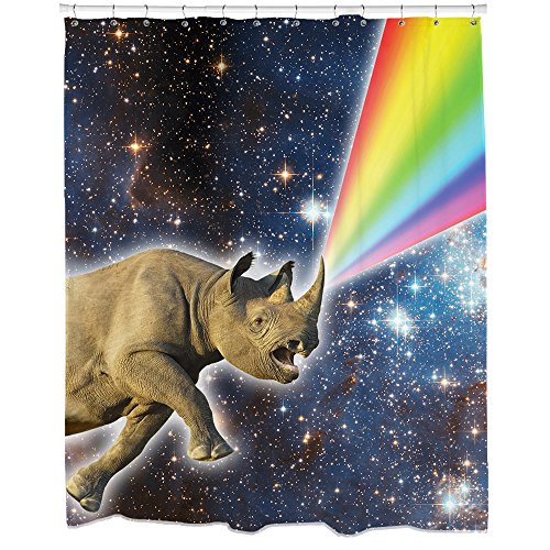 Rhino Unicorn in Space Shower Curtain Set Galaxy Print with Funny Animal Waterproof Fabric 12 Hooks Included