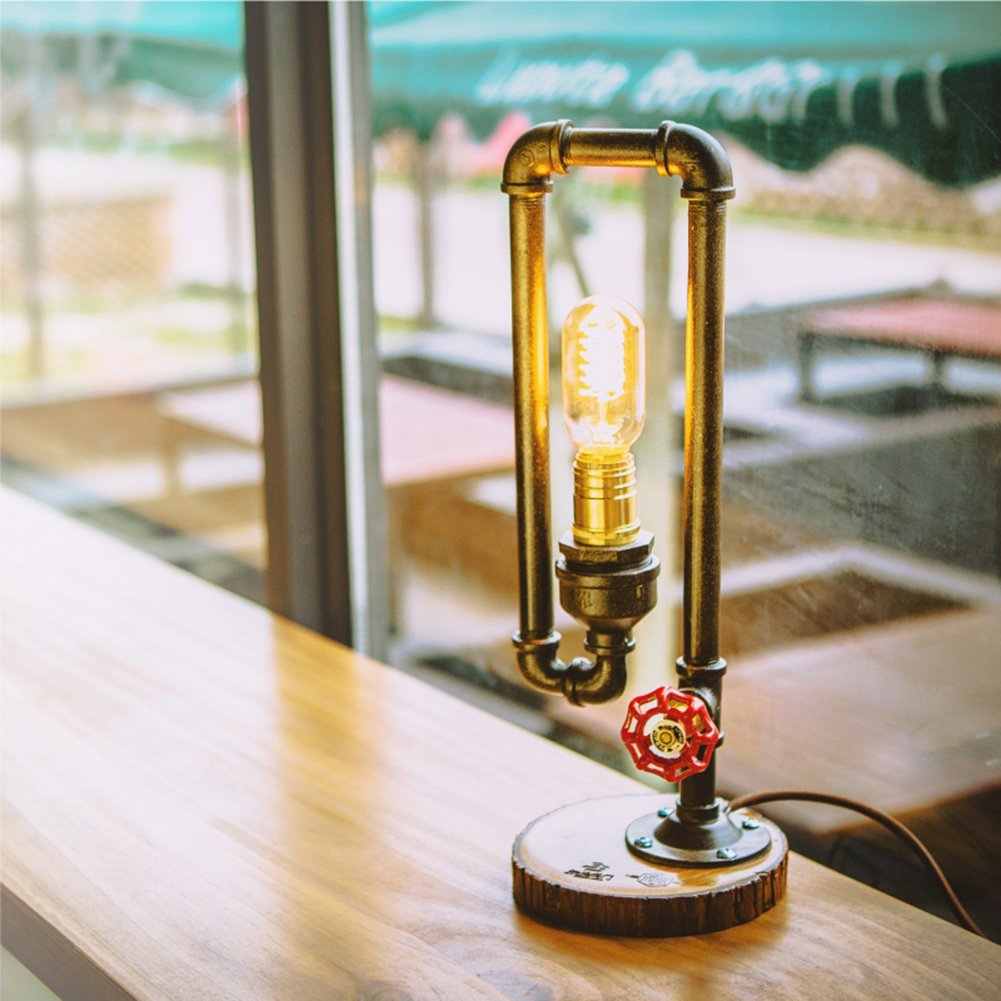 MKLOT Loft Vintage Industrial Wooden Base E27 Edison Table Lamps W7.87'' x H16.93'' Antique Retro Rustic Stand Desk Accent Lamps for Bedside Living Room Bedrooms Bar Cafe Home Decor