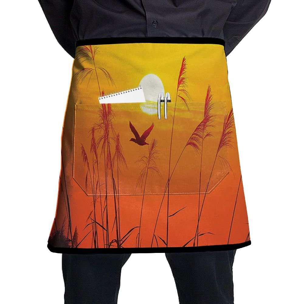 Guiping Bulrushes Against Sunlight Over Sky In Sunset With Flying Bird Kitchen Apron With Pockets For Men And Women