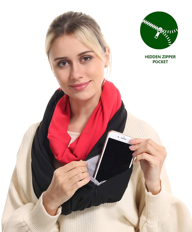 2 USAstyle Premium Women Infinity Scarf With Zipper PocketSoft Stretchy Jersey, 30Day