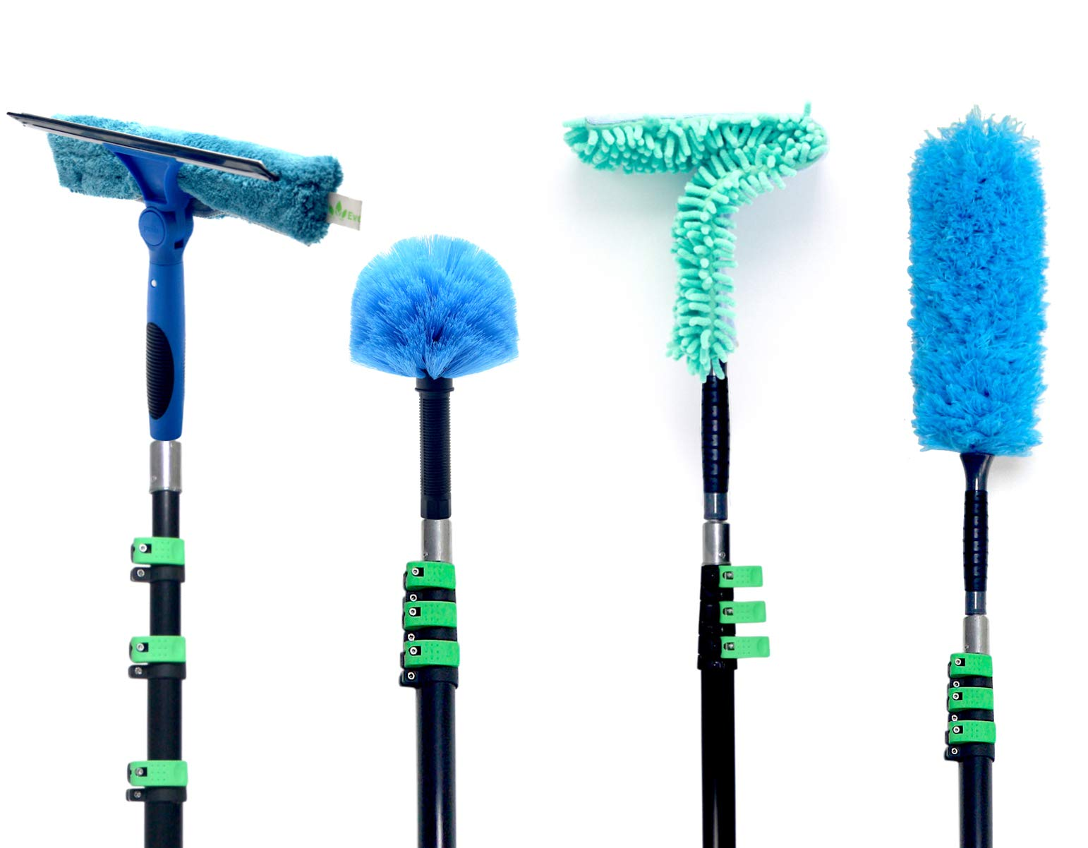 EVERSPROUT 4-Pack Duster Squeegee Kit with Extension-Pole (30+ Foot Reach) | Swivel Squeegee, Hand-Packaged Cobweb Duster, Microfiber Feather Duster, Flexible Ceiling Fan Duster, 24 ft Telescopic Pole