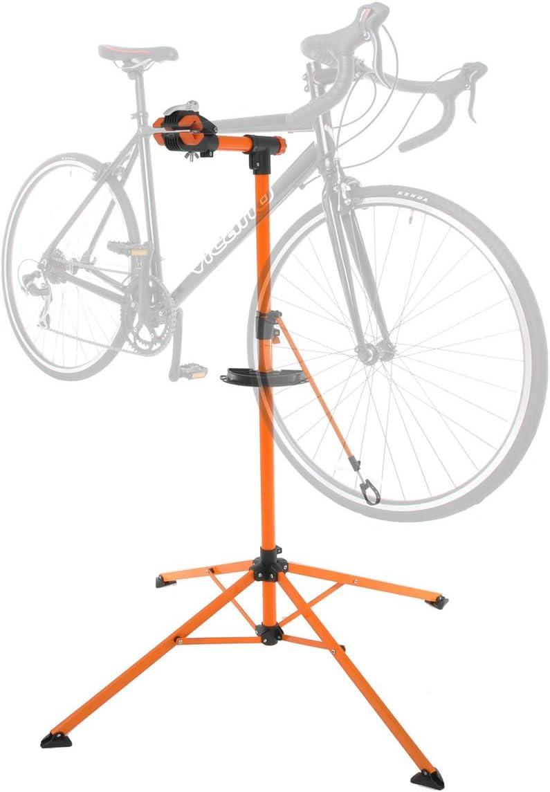 XtremepowerUS Bike Repair Stand Foldable Bicycle Repair Rack Mechanic Road Bikes Mountain Bikes Workstand Height Adjustable