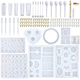 EuTengHao 229Pcs DIY Jewelry Casting Molds Tools Set More Than 120 Designs Contains 8 Silicone Jewelry Resin Molds with 70 De