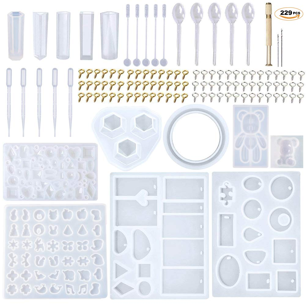 EuTengHao 229Pcs DIY Jewelry Casting Molds Tools Set More Than 120 Designs Contains 8 Silicone Jewelry Resin Molds with 70 Designs,1 Earring Molds with 25 Designs,2 Necklace Bear Molds,3 Diamonds Mold