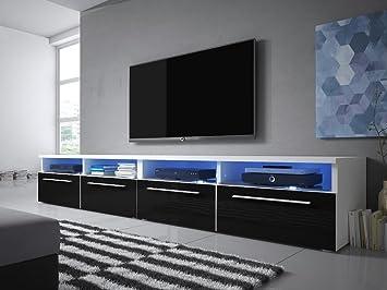 Selsey Siena Double Tv Lowboard Tv Schrank 200 Cm Weiß Matt Schwarz Hochglanz Led Beleuchtung In Blau