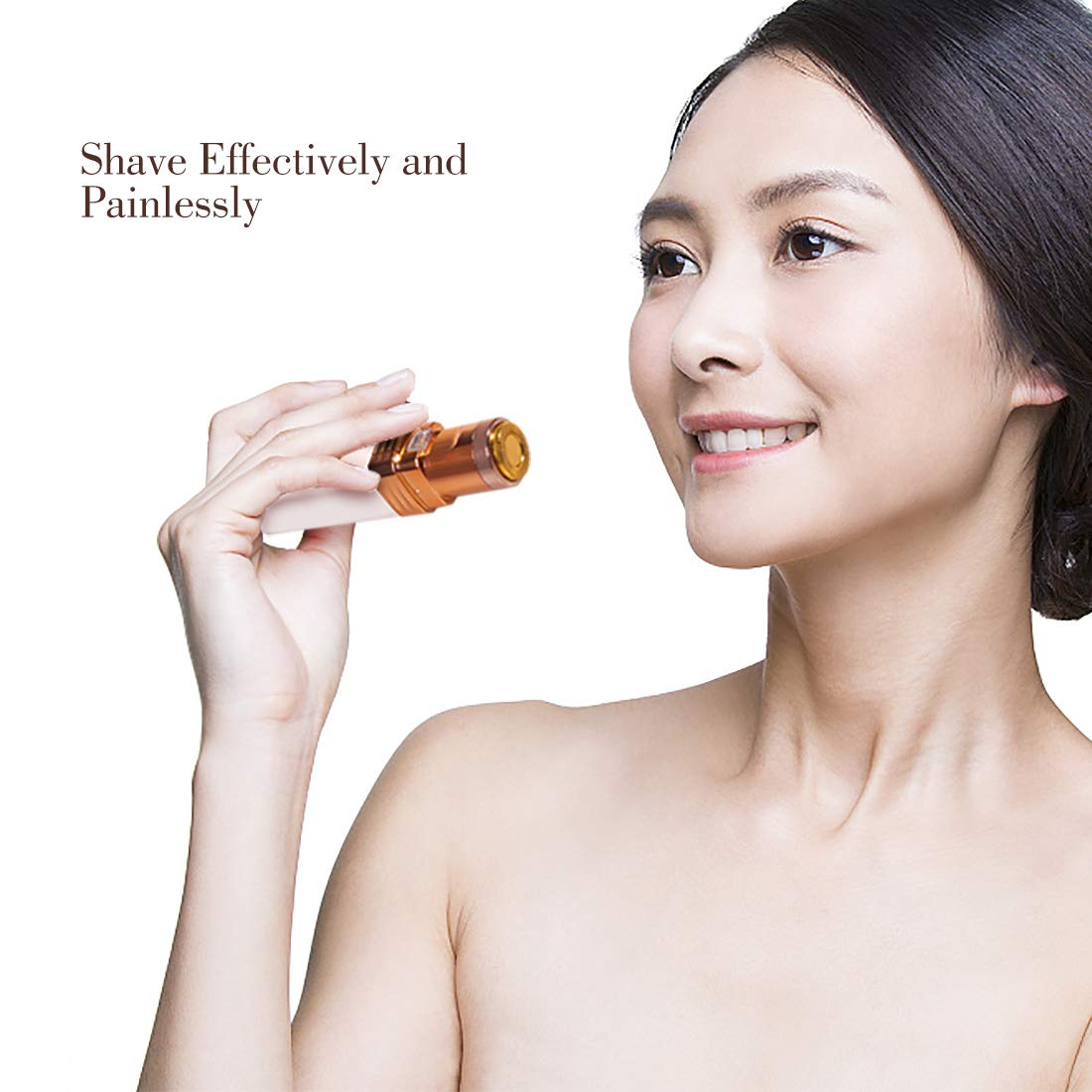 SHINCO Facial Hair Removal For Women,Painless Hair Remover with Built-in-LED Light for Face Lips Chin Cheeks Neck,Compact Hair Trimmer for Peach Fuzz with Cleaning Brush(Battery Not Included )