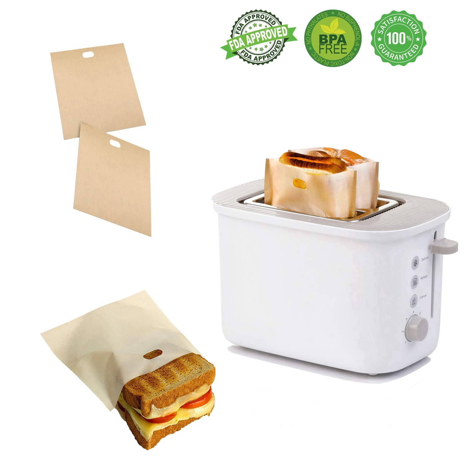 Non Stick Toaster Grilled Cheese Bags Reusable and Heat Resistant Easy to Clean, Gluten Free, FDA Approved, Perfect for Sandwiches, Chicken, Nuggets, Panini and Garlic Toasts - 10 Pcs