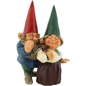 Sunnydaze Garden Gnome Couple Arnold and Sarah, Outdoor Lawn Statue, 8 Inch Tall