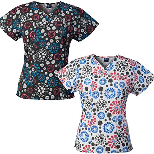 (Medgear 2-Pack Womens Printed Scrub Tops with 4 Pockets & ID Loop (M))