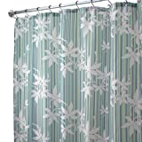 InterDesign Floral Stripe Fabric Shower Curtain, Blue/Green