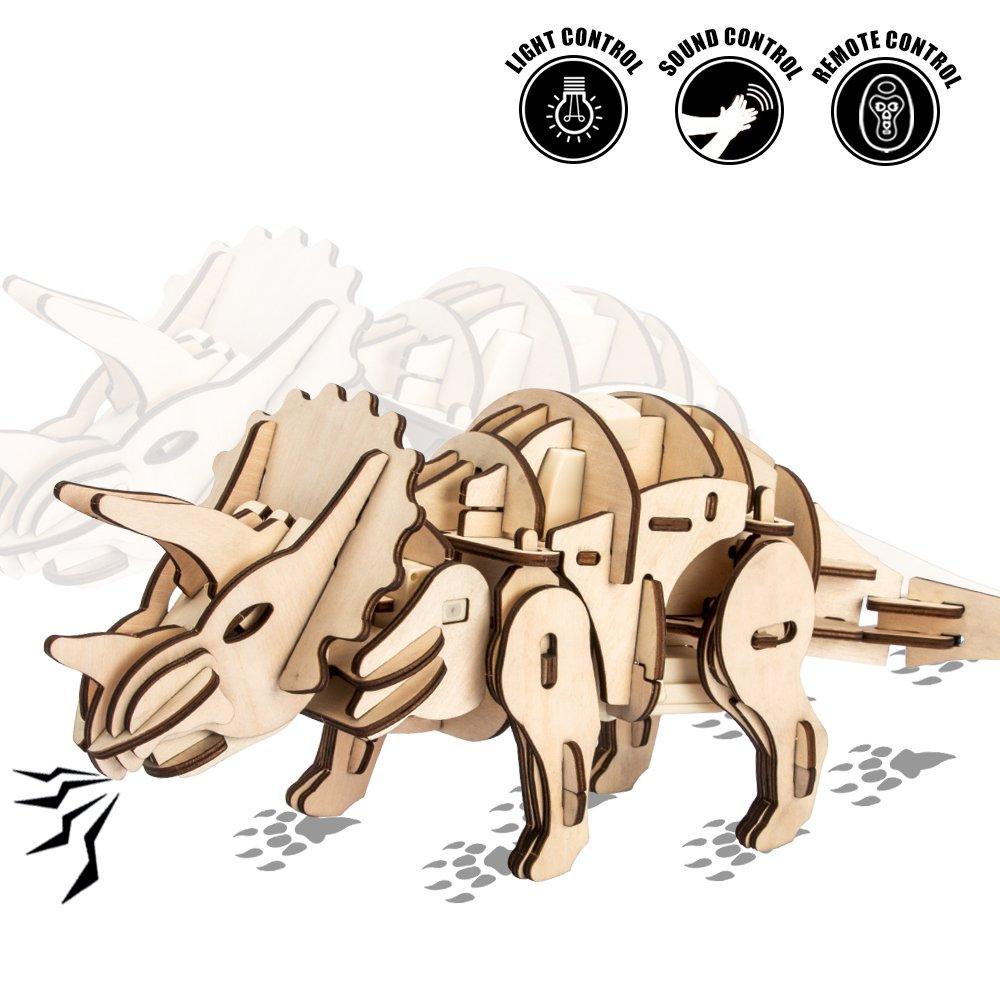 夏セール開催中 MAX80%OFF! ROKR Wooden Dinosaur Dinosaur Toy Real Figureリモート制御さ – Real movement-perfect Gift Gift for Boys and Girls 8 9 D200N B0793G71P2 トリケラトプス, HAPPY BIRTH:e542119b --- arcego.dominiotemporario.com