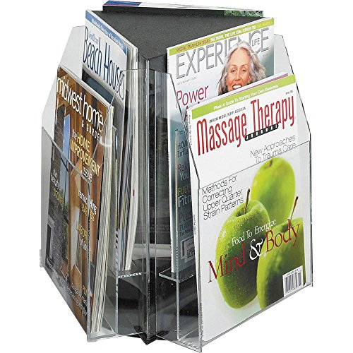 (Safco Products 5698CL Triangle Tabletop Display, f/ 9-Inch W Magazines,15-Inch x15-Inch x14-Inch, CL)