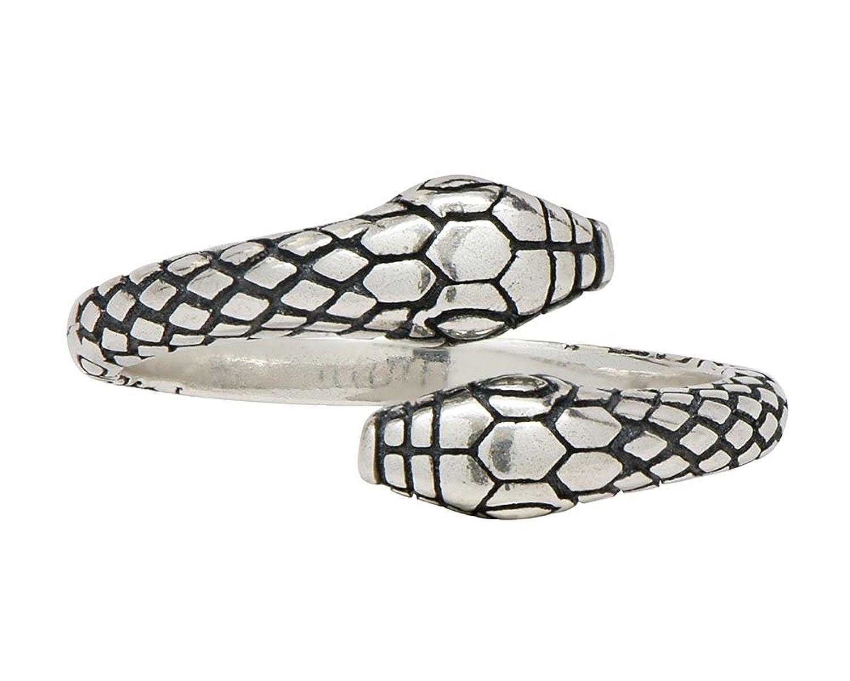 Doppelk/öpfiger Schlangen Ring aus 925 Sterlingsilber f/ür Frauen Damen Herren M/änner Unisex by Serebra Jewerly