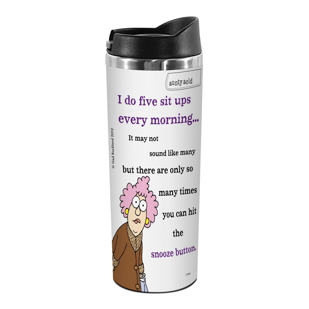 Tree-Free Greetings TT01809 Aunty Acid 18-8 Double Wall Stainless Artful Tumbler, 14-Ounce, Snooze Sit Ups