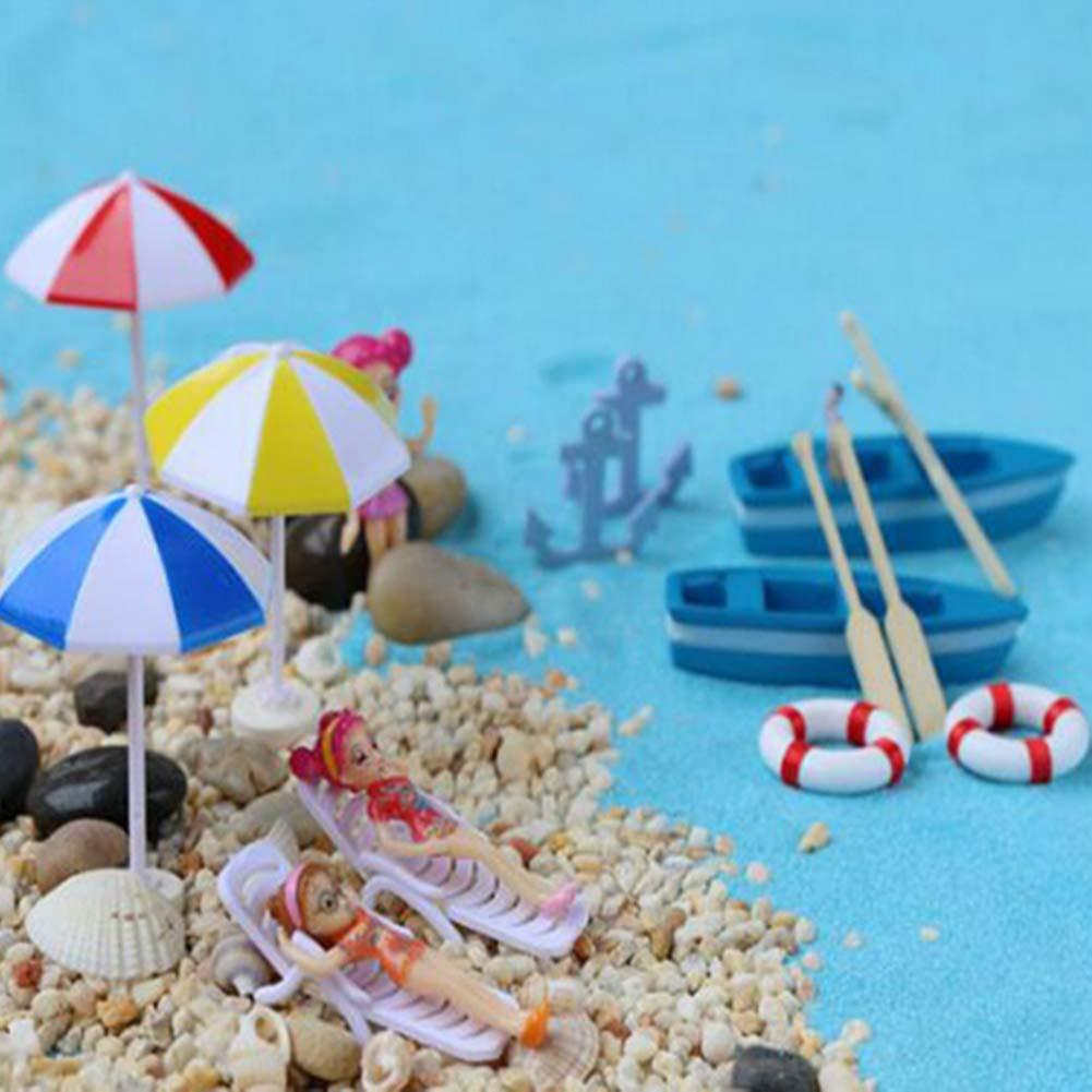 2 Phononey 2X Miniature Micro Landscape Ornaments Boat Decoration 1 Boat 2 Pulp Wooden for Garden Bonsai Moss Succulent Plants DIY Decoration 6 1cm Blue