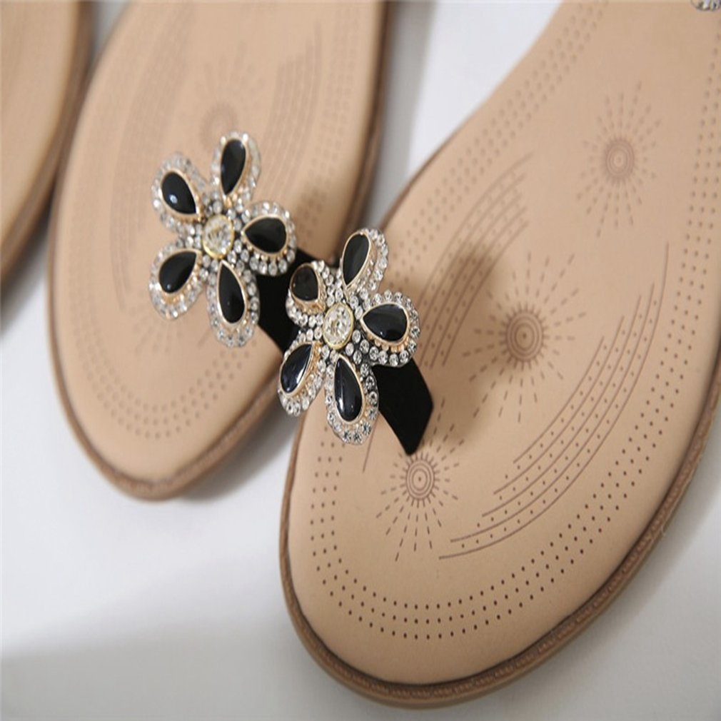 Kyle Walsh Pa Flat Sandal for Women,Bohemian Flowers B(M) Rhinestones Summer Toe Ring Slipper Shoes 5 B(M) Flowers US|Black B07DB5XQ2T 9492d2