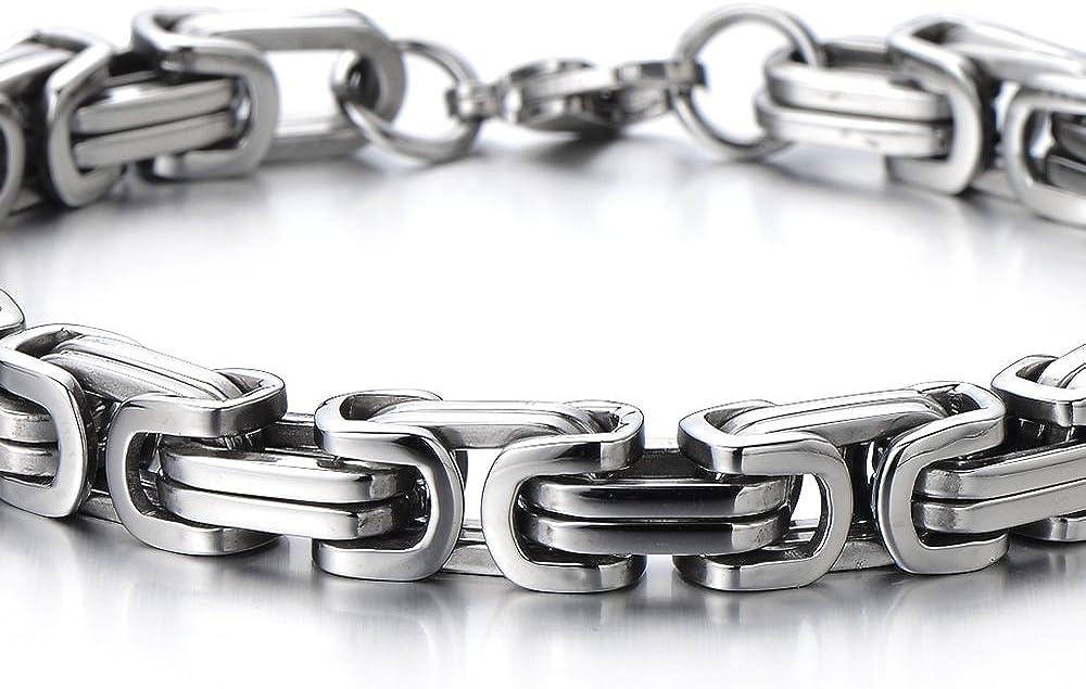 COOLSTEELANDBEYOND Style Masculine Bracelet Homme en Acier Inoxydable Bracelet Acier Tresses Poli Mirro