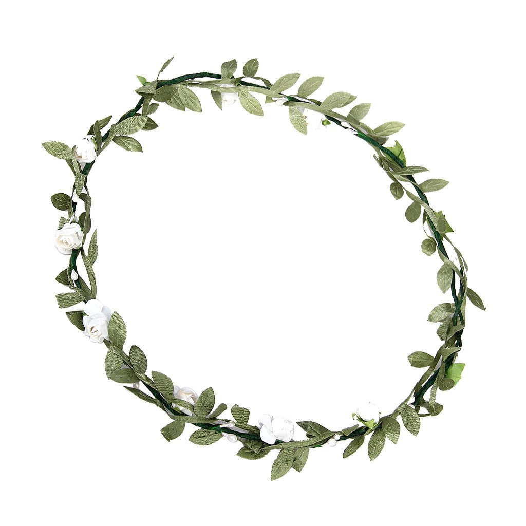 Rose Flowers Branch Festival Wedding Garland Head Wreath Crown Floral Halo Headpiece Photography Tool Adult Size (White + Green) SODIAL(R) generico