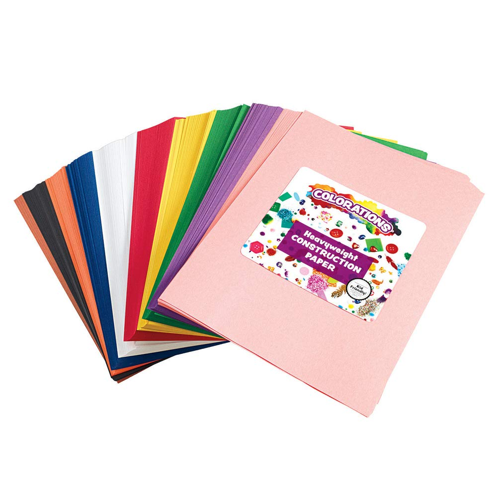 Construction Paper Pack, 10 Assorted Colors, 9'' x 12'', 600 Sheets, Heavy Weight Construction Paper, Crafts, Art, Kids Art, Painting, Coloring, Drawing, Creating, Arts and Crafts