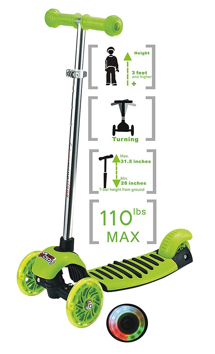Voyage Sports Kick Scooter for Toddlers - Kick Scooter 3 Wheel Adjustable Height, Lean 2 Turn,Kids Scooters 3 Wheel with LED Light up for Boys and Girls by Voyage Sports (Image #4)