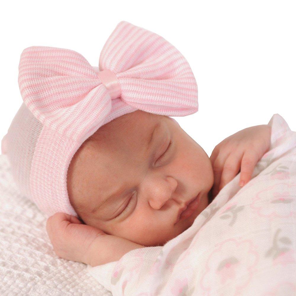 per neonati dagli 0 ai 3 anni Samidy cuffietta da neonato fatta a mano a uncinetto con fiocco grande