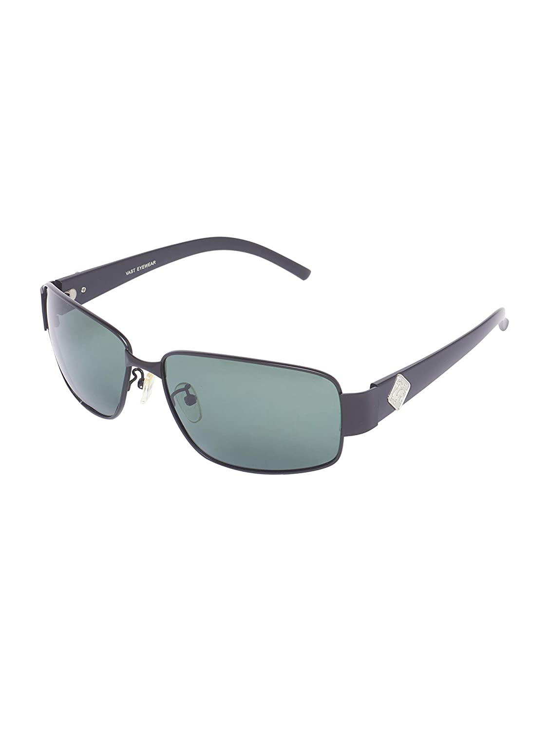 Vast HD TAC Polarized Rectangular Unisex Sunglasses (3205_Black_Green)