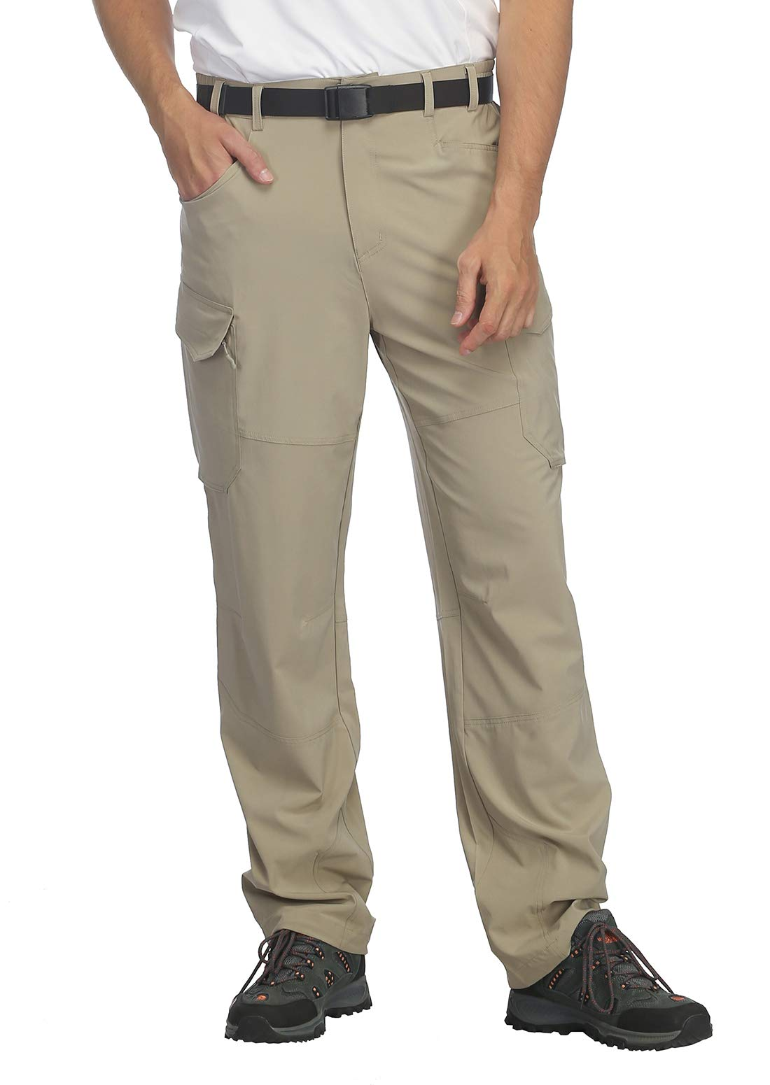 MIER Men's Lightweight Hiking Pants Quick Dry Outdoor Cargo Pants with Partial Elastic Waist, YKK Zipper, 5 Pockets, Rock Grey, M