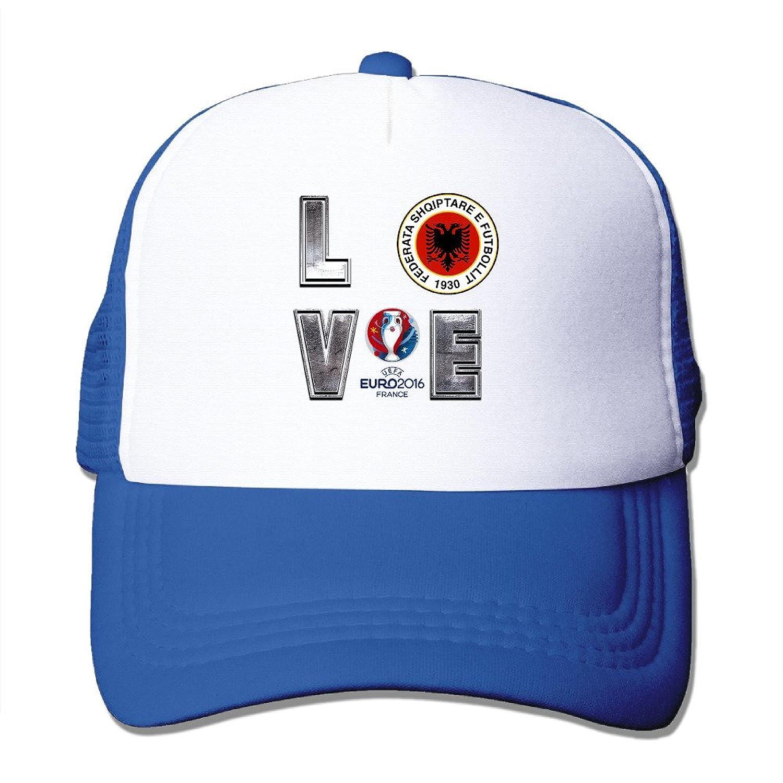 Nerd I LOVE Albania Football Adult Nylon Adjustable Mesh Hat Sport Cap Black One Size Fits Most