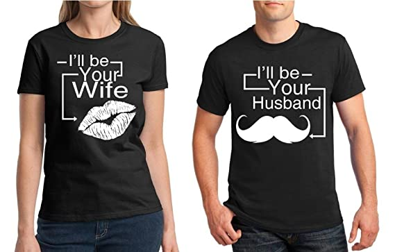 fd82def3d4 Amazon.com: Awkward Styles Matching Couple Shirt I'll Be Your Husband &  I'll Be Your Wife T-Shirt Black: Clothing