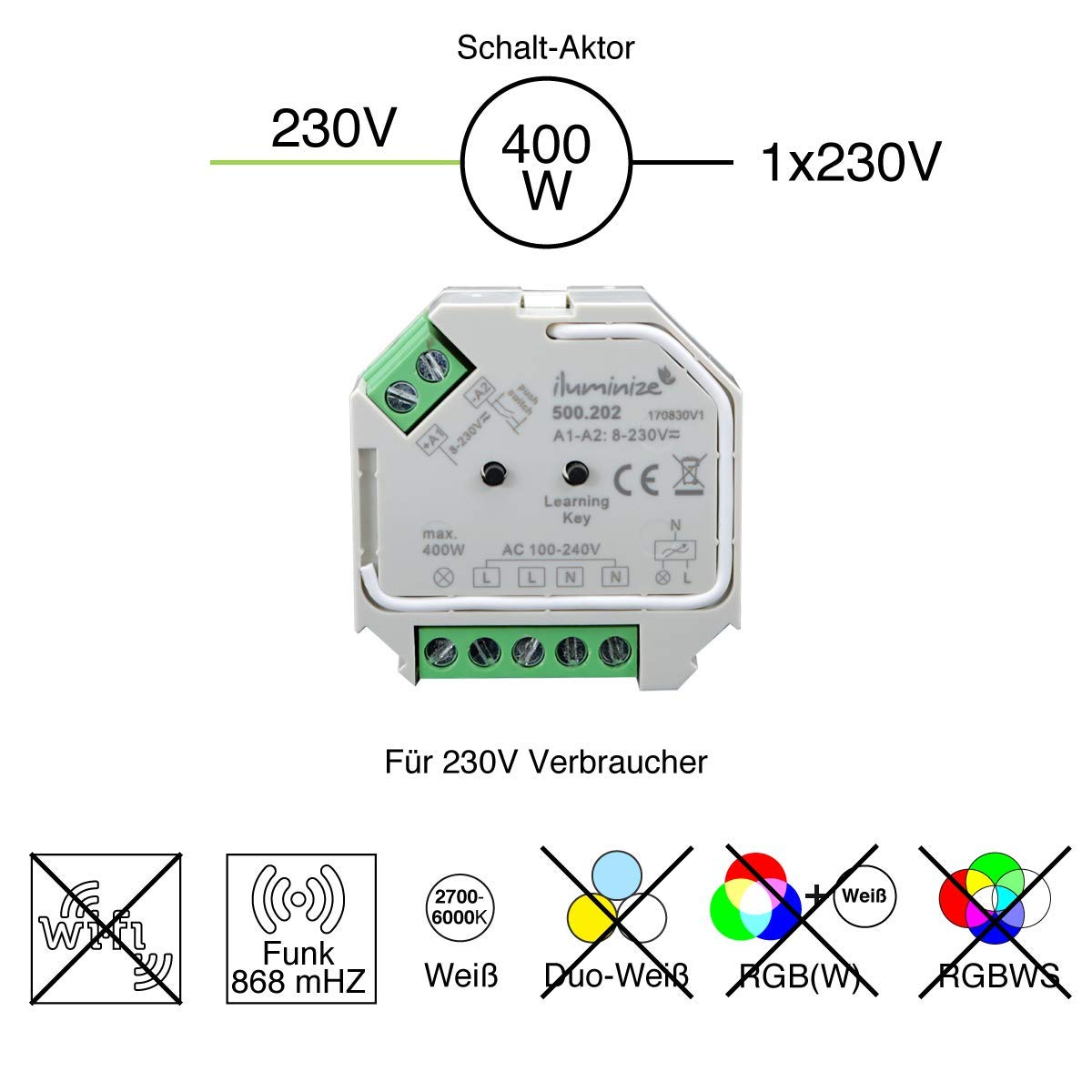 Wand-Dimmer 200W//400W iluminize Funk Schalt-Aktor Mini schalten per Funk mit iluminize Hand-Fernbedienung 1x 230V Schalt-Aktor Desk-Dimmer oder WiFi-Bridge WICHTIG: nicht Zigbee 3.0 kompatibel