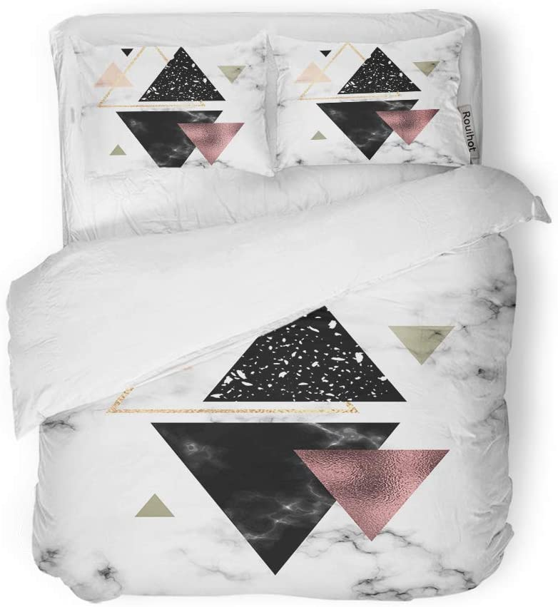 rouihot Duvet Cover Set Queen/Full Size Shape Marble Geometric Gold Rose and Triangles Elegant Pattern 3 Piece Microfiber Fabric Decor Bedding Sets for Bedroom