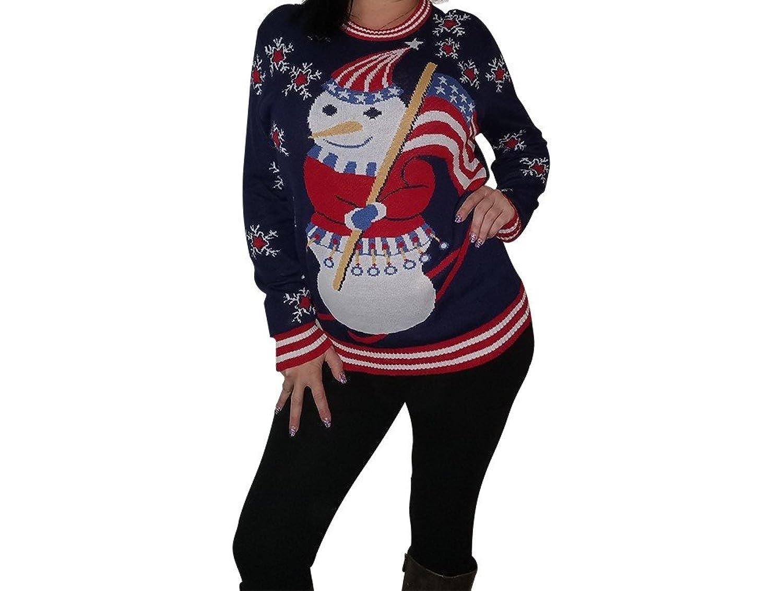 Bella Mica Winter Olympics Sweater - Team USA - Snowman Holding The American Flag