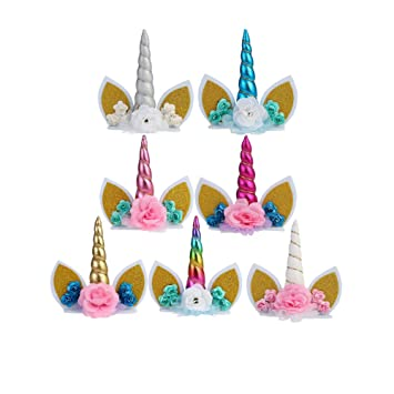 Cupcinu 7PCS Unicornio Toppers de Pastel de Cumpleaños con ...