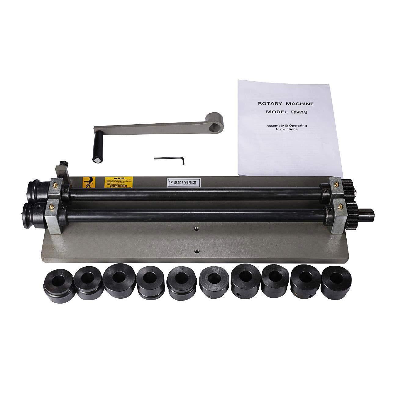 WICHEMI Sheet Metal Bead Roller Machine 18 inch Steel Gear Drive Bench Mount w/ 6 Dies