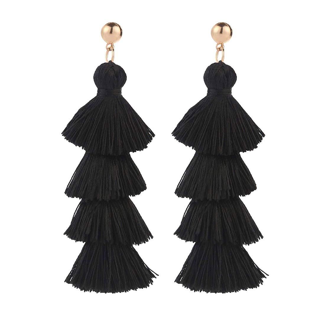 Tassel Tiered Earrings Handmade 4 Layers Elegant Thread Drop Dangle Girls Jewelry