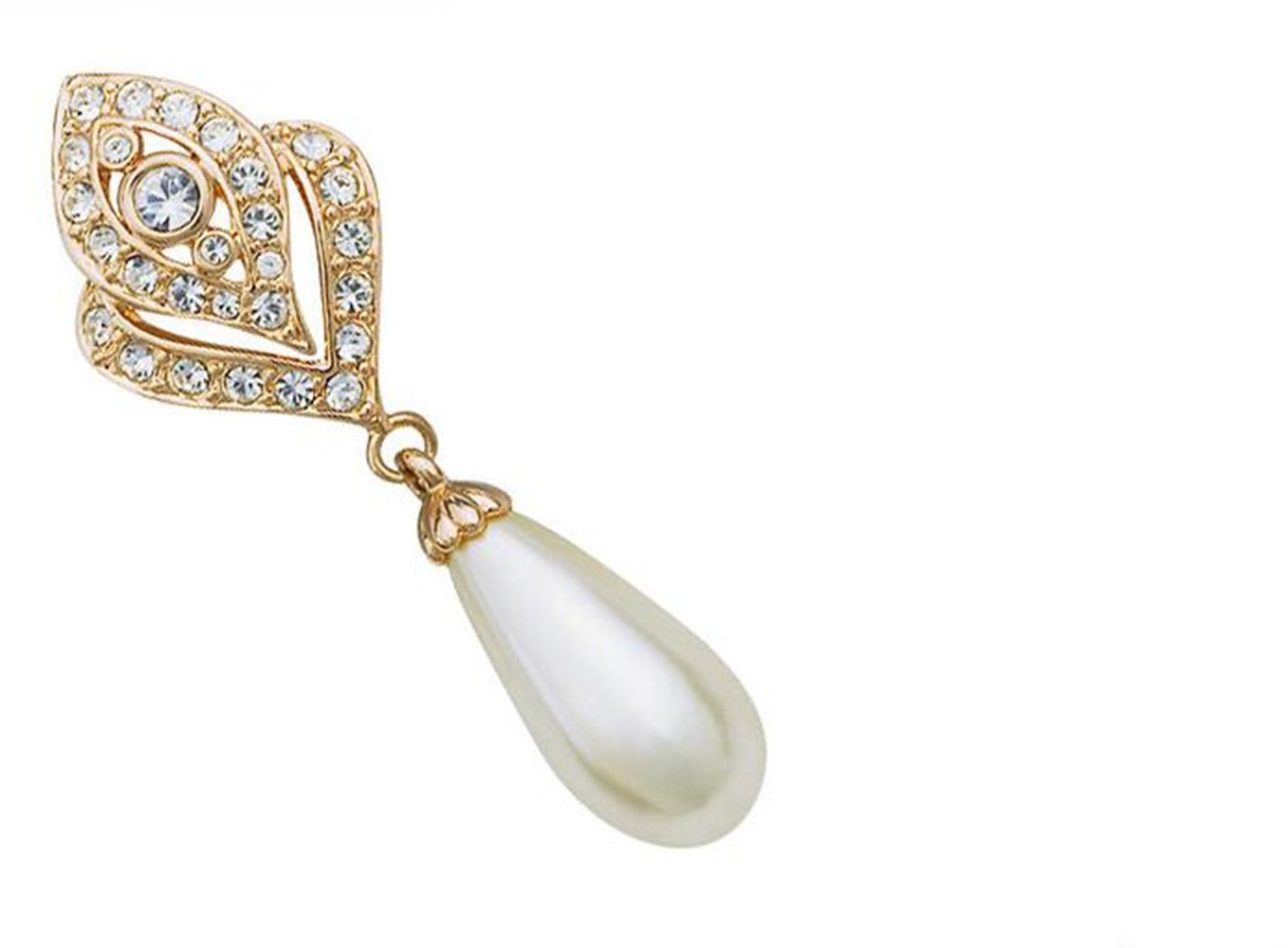 Clip On Pearl Dangle Earrings for Women, 18K Gold Plated , Art Deco Vintage Wedding Style by cckiise (Image #2)
