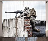 War Home Decor Curtains Army Sniper Warrior Targeting on Roof during the Operation Commando Task Theme Living Room Bedroom Window Drapes 2 Panel Set Multi