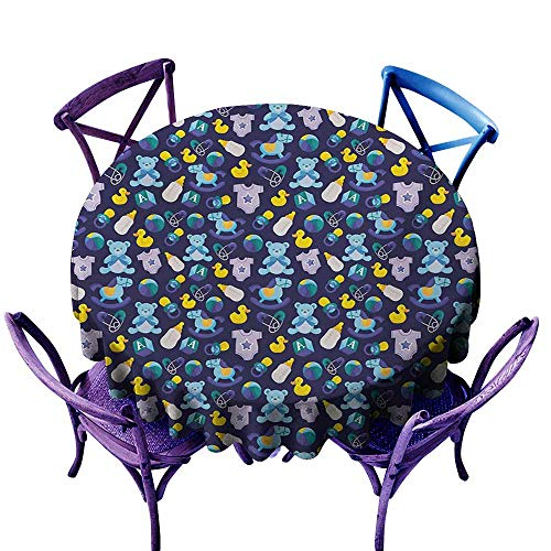 Zodel Washable Round Tablecloth,Nursery Children Toys Pattern with Rubber Duck Teddy Bear Beach Ball and Rocking Horse,Resistant/Spill-Proof/Waterproof Table Cover,55 INCH,Multicolor ()