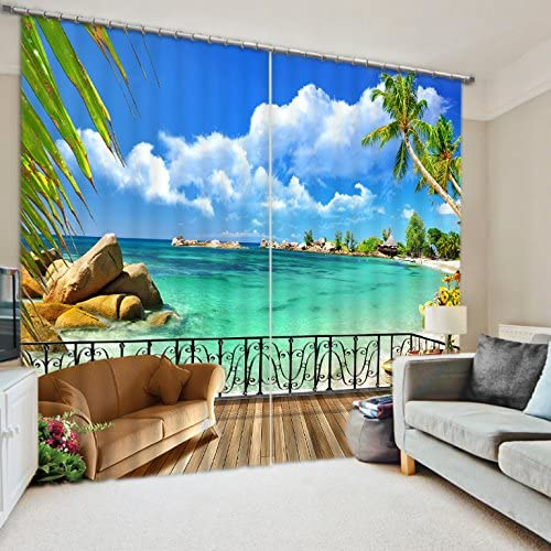 Newrara 3D Blue Water and Palm Trees with Wonderful Beach Printed Natural Scenery Blackout Curtain 2 Panels for Living Room Bedroom,Free Hook Included 118 W106 L, Blue