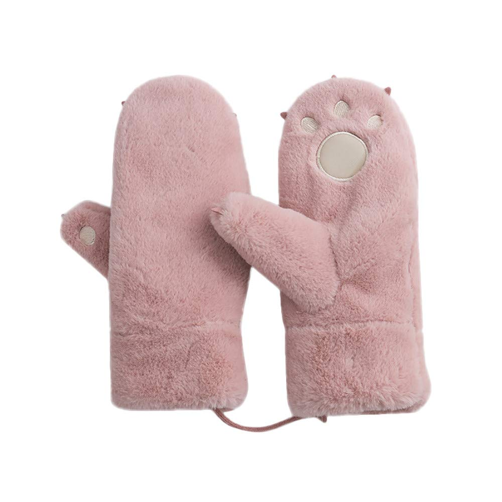NUWFOR Unisex Gloves Mitten Fingerless Fleece Half-Fingers Fuzzy Adult Warm Winter ?Pink,Free?