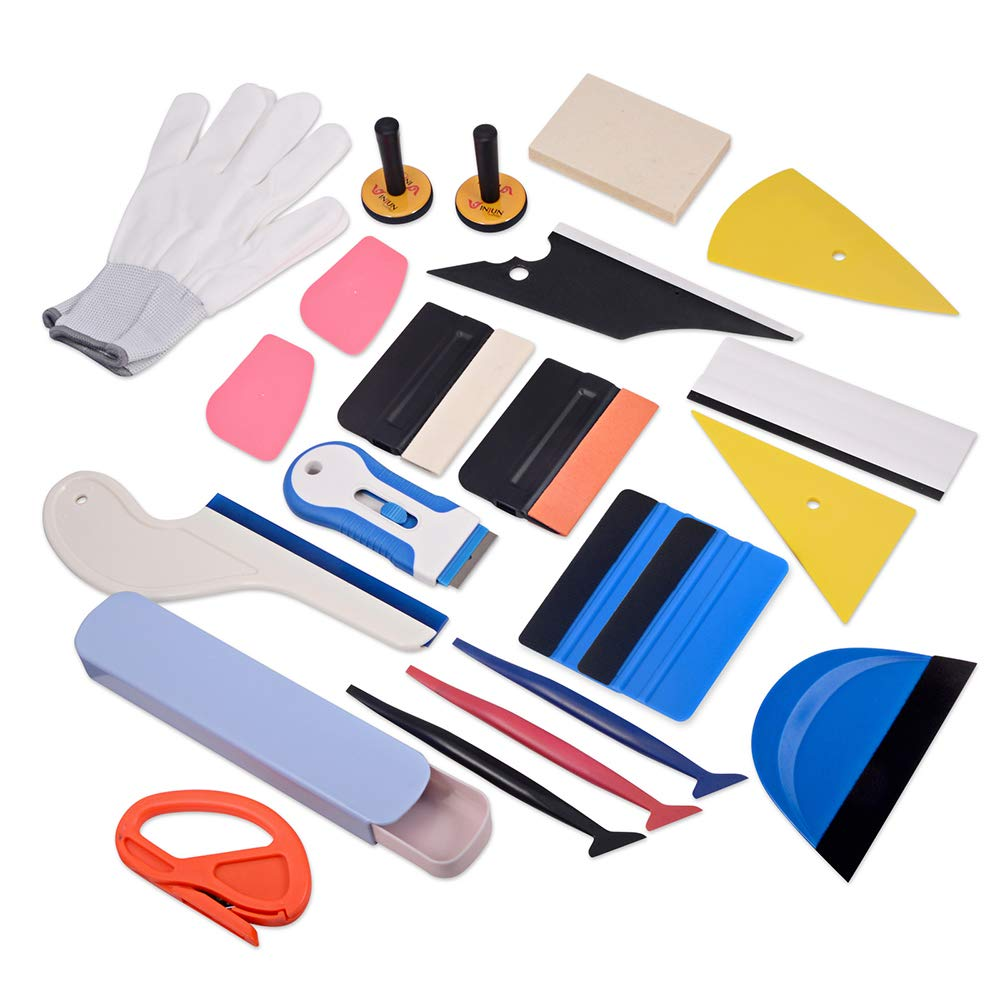 WINJUN Vinyl Wrapping Tool Kit for Vehicle Glass Protective Film Car Window Wrapping Tint Vinyl Installing - Include: Squeegees, Scraper, Magnet Holders, Gloves, Film Cutters