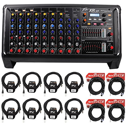 14 Channel Powered Mixer - Package: Peavey XR AT 1000 Watt Powered/Active 9 Channel Mixer + (8) Peavey PV 20' XLR Female to Male Low Z Mic Cables + (4) Rockville RCTS1425 25' 14 AWG 1/4