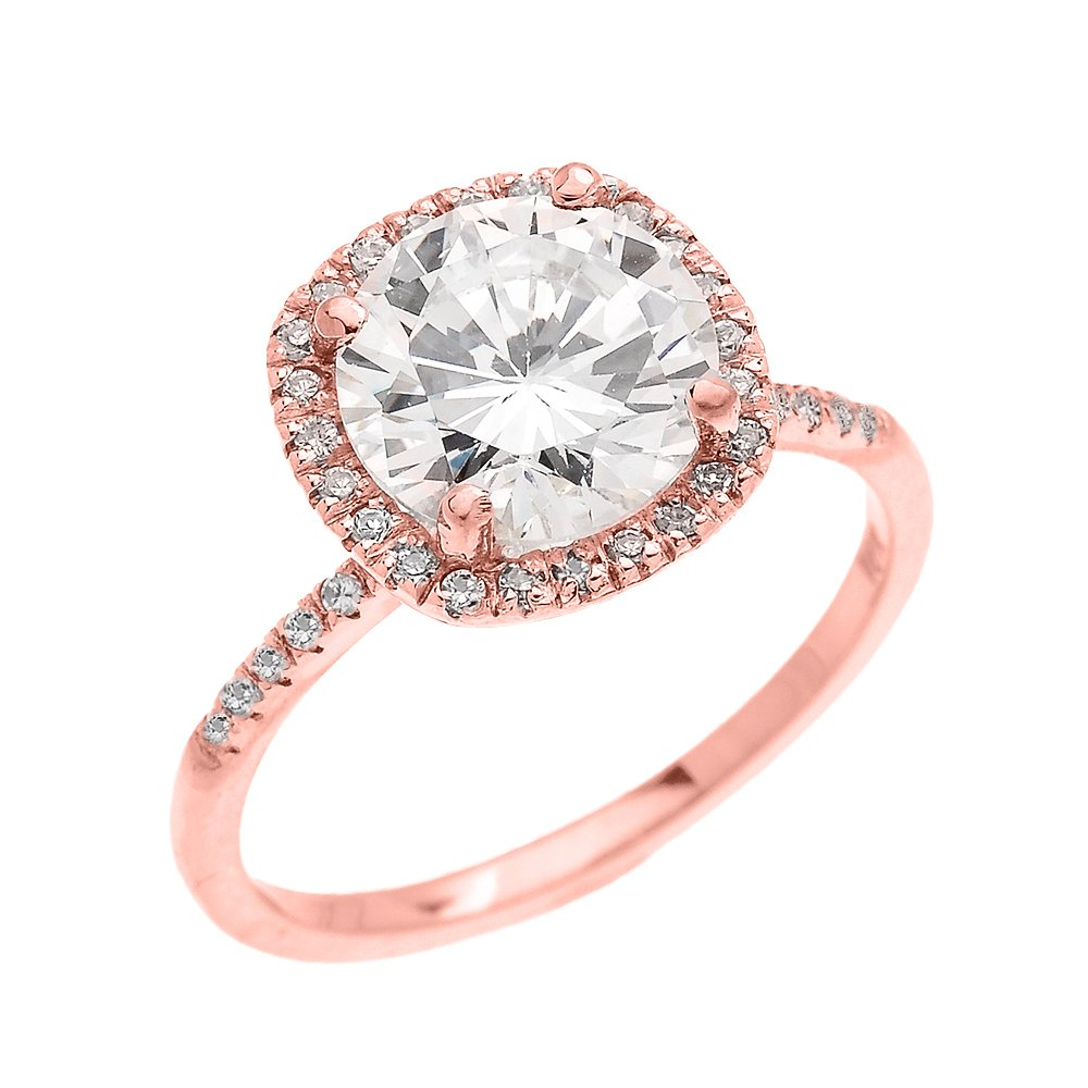 Dainty 14k Rose Gold Cushion Shape Halo 4 Carat Total Weight CZ Solitaire Engagement and Proposal Ring (Size 5.75)