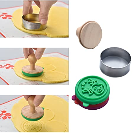 Wooden Press 12 Cookie Cutters 5 Stamps WasonD 18pcs Silicone Cookie Stamp Molds Kit for Homemade Cookies