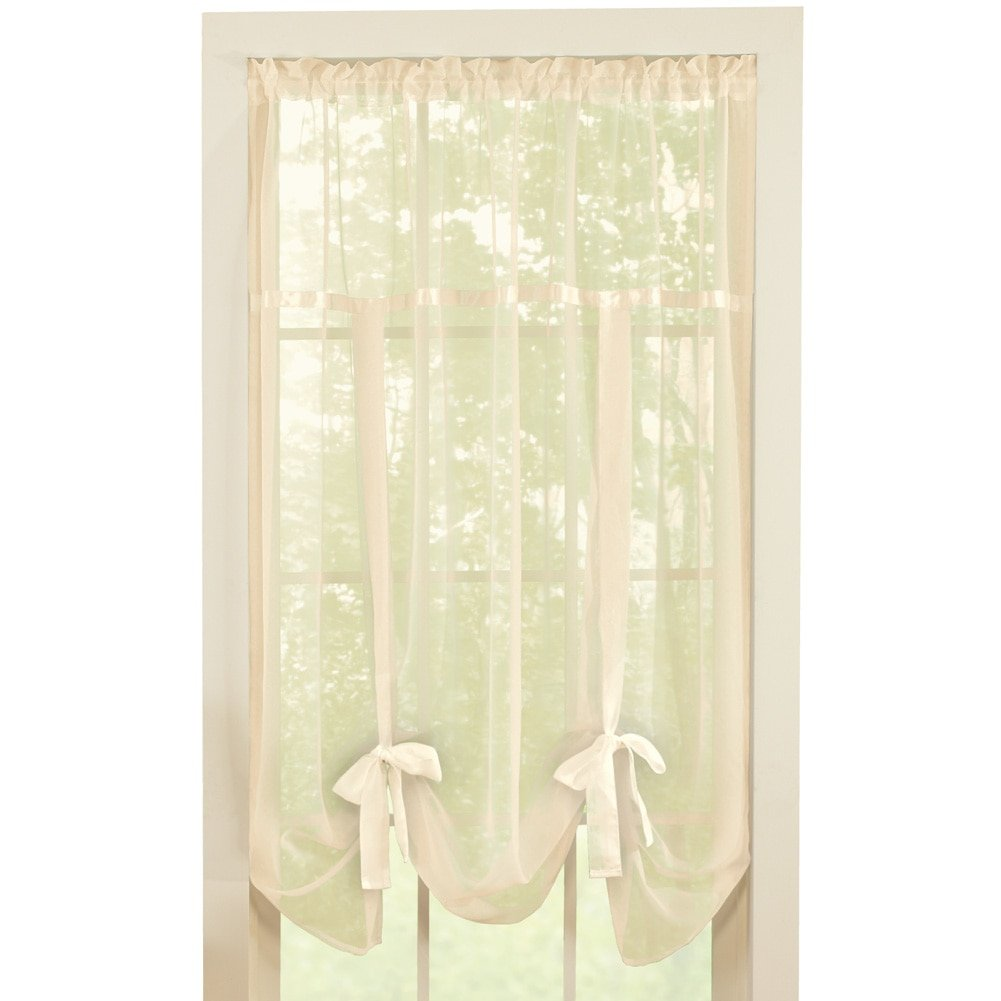 """Collections Etc Solid Sheer 58""""x64"""" Rod Pocket Tie Up Shade Window Curtain, Cream"""