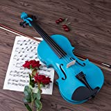 ARTALL 4/4 Full Size Handcrafted Acoustic Violin Beginner Kit for Student with Hard Case, Bow & Accessories, Glossy Blue