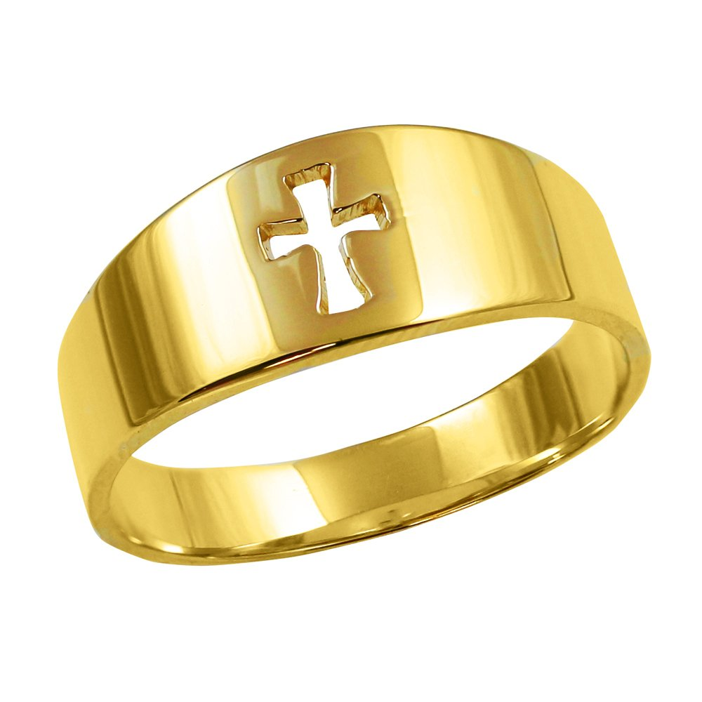 Men's Solid 14k Yellow Gold Cut-Out Christian Cross Band Ring (Size 14) by Men's Fine Jewelry (Image #1)