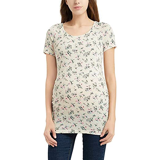 6806e8232aec3 Toponly Maternity T-Shirt, Women Short Sleeve Floral Print Pregnancy Nursing  Tops Tee Clothes at Amazon Women's Clothing store: