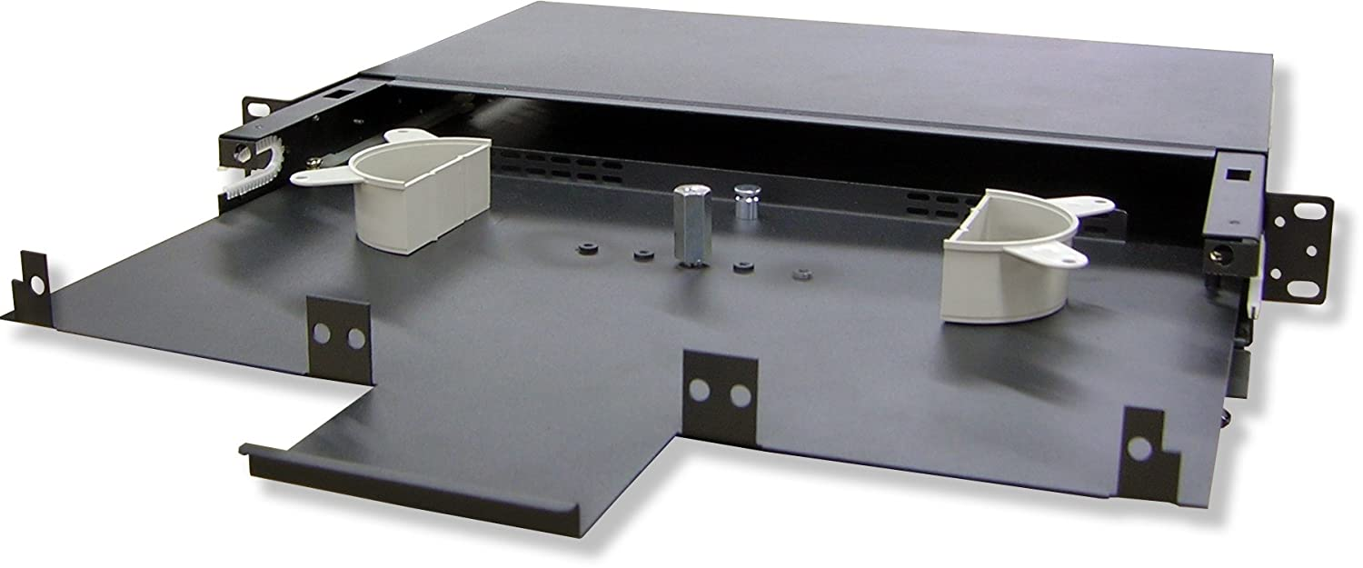 Lynn Electronics 1U Fiber Optic Rackmount Enclosure Panel, holds 3 LGX footprint panels or modules for a maximum capacity of 72 fibers. Fits 19 and 23 inch racks. FRMP-1U